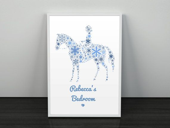 personalised horse themed wall art childrens room girs birthday present kids playroom decor little girls room name plaque alternative
