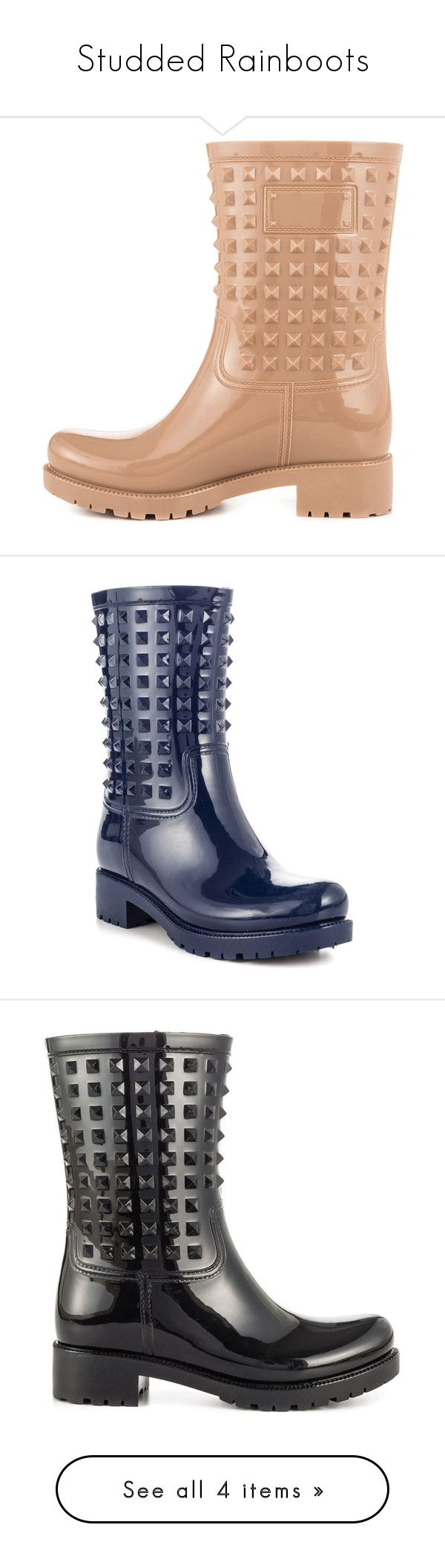 """Studded Rainboots"" by heelsdotcom ❤ liked on Polyvore featuring shoes, boots, mid-calf boots, wellies boots, mid-heel boots, synthetic boots, calf length boots, wellington boots, fake boots and blue boots"