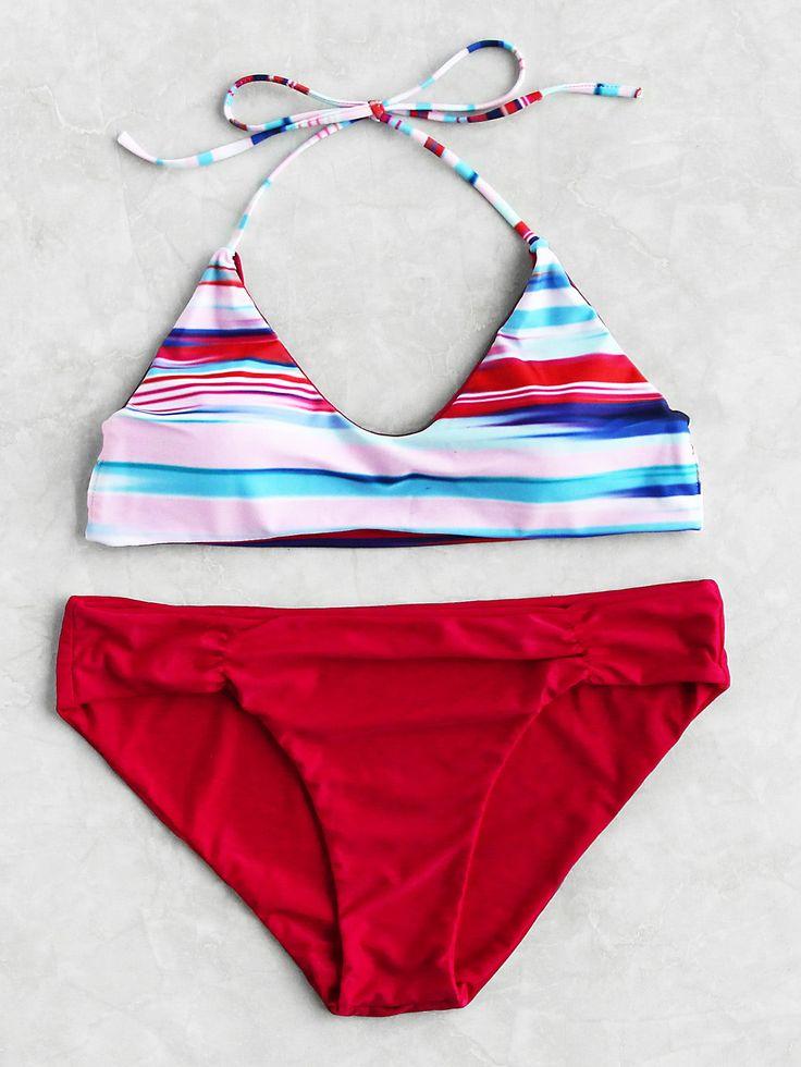 Block Striped Mix  Match Bikini Set