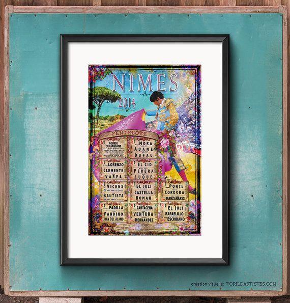 Affiche 2014 Nîmes Pentecôte par TorildArtistes sur Etsy