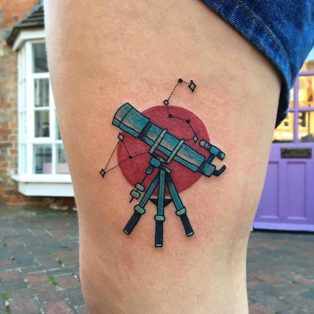 By Amy tenenbaum, email amytenenbaumtattoos@gmail.com for bookings ✨ #telescope #tattoo #tattoos #astronomy #astrology #starsign #leo #telescopetattoo #starsigntattoo #zodiac #girlswithink #bodyart #colourtattoo #ink #inked #legtattoo #thightattoo #tattooist #tattooart #artist #femaletattooist #newbury #newburytattoos #stars #stargazer #stargazing #starconstellationtattoo #starconstellation #bloodmoon