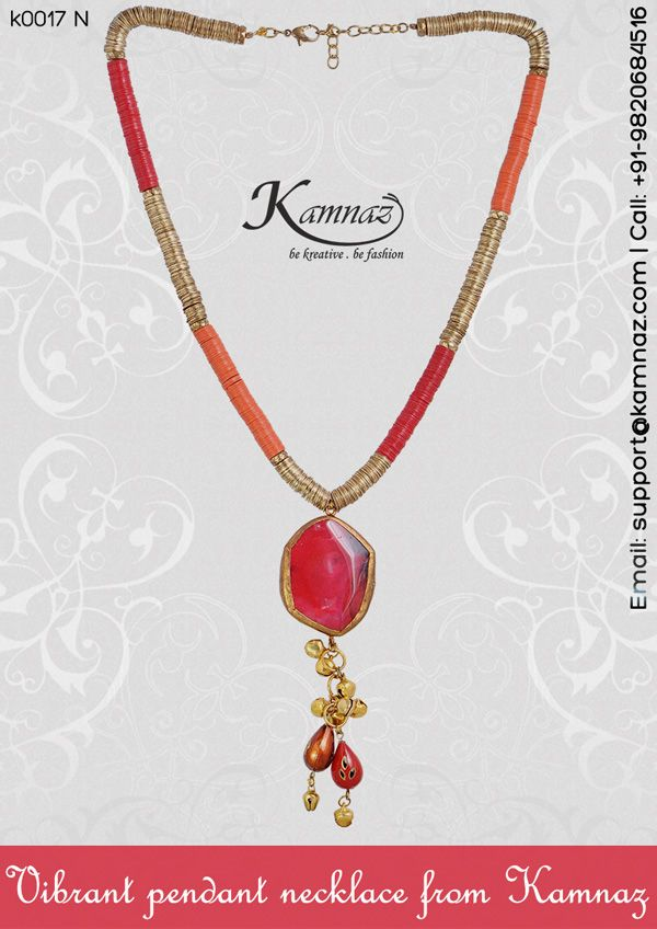 Vibrant pendant necklace from #Kamnaz #KamnazJewellery for prices contact support@kamnaz.com   +91-9820684516 #necklace #ecommerce #chic #handmadejewellery #indochicjewellery #designerjewellery #fashionjewellery #jewelry #mumbai #fashion #exclusive #casual #lightweight #dangling #accessory #women #instafashion #instalook #handmade