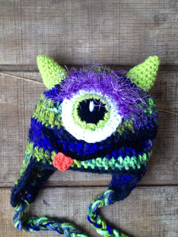 Monster Hat Crochet Monster Hat Little One-eyed by thebluemagnolia