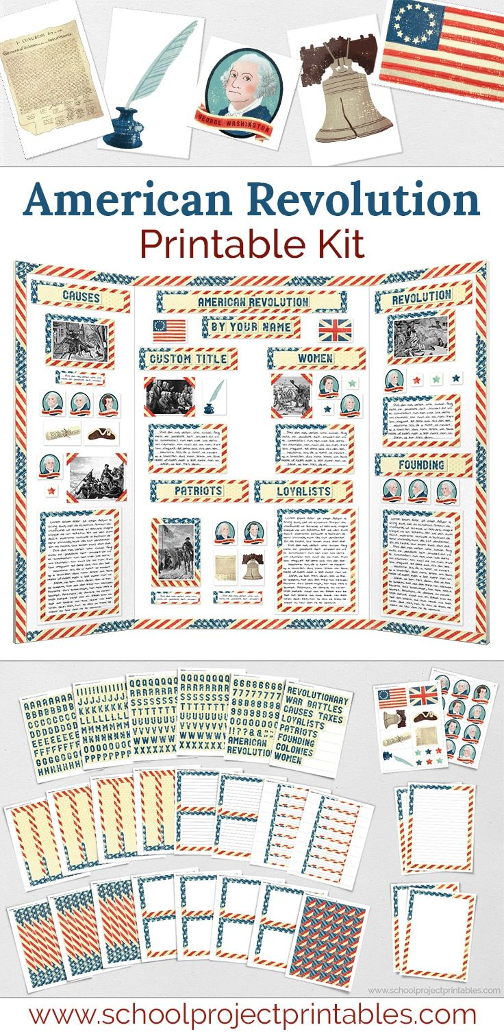 American Revolution Display Board Poster Project Kit   American revolution  projects [ 1508 x 736 Pixel ]