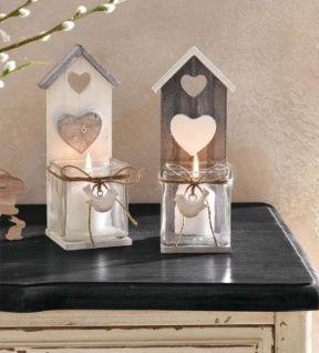 """2er Set Windlicht """" Vogelhaus"""" aus Holz & Glas, Tisch Kerzen Ständer Halter Deko"""