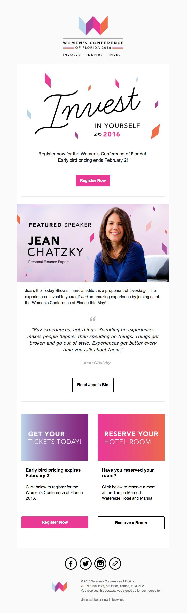 Women's Conference of Florida sent this email with the subject line: Invest in Yourself. See you in May! - Read about this email and find more promotion emails at ReallyGoodEmails.com #events #promotion