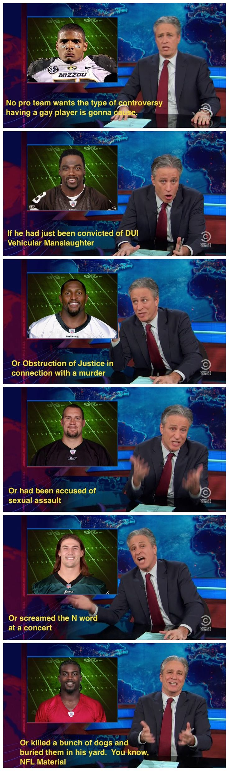 Jon Stewart on the brewing Michael Sam controversy - Imgur