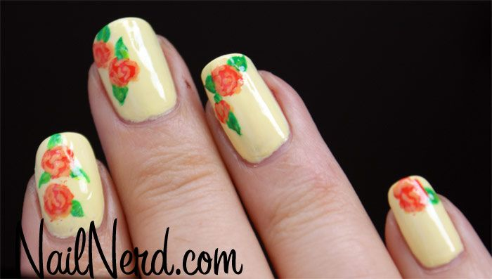 Click on the link to see how to paint roses on your nails. http://www.nailnerd.com/how-to-paint-roses-on-your-nails/