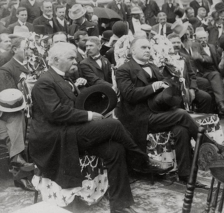 President William McKinley (on the right) and Texas governor Joseph D. Sayers at the Alamo, May 4th, 1901. This photo was taken just a few months before McKinley was assassinated in September and documents the first time a U.S....