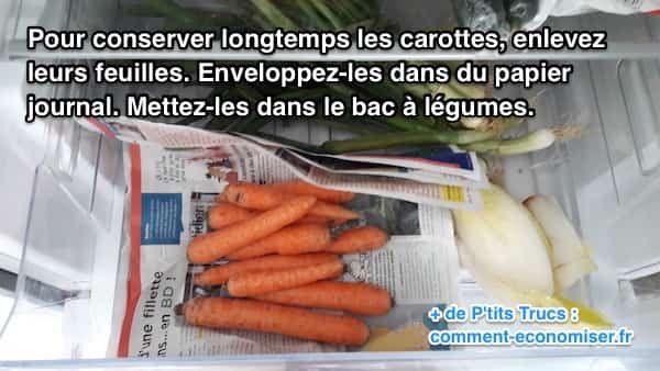 Ma grand-mère avait un truc qui marche à tous les coups pour conserver les carottes croquantes plus longtemps. Pour qu'elles restent bien fraîches, il suffit de couper leurs feuilles et de les conserver dans du papier journal. Regardez :-)  Découvrez l'astuce ici : http://www.comment-economiser.fr/conserver-carottes.html?utm_content=bufferf8f56&utm_medium=social&utm_source=pinterest.com&utm_campaign=buffer