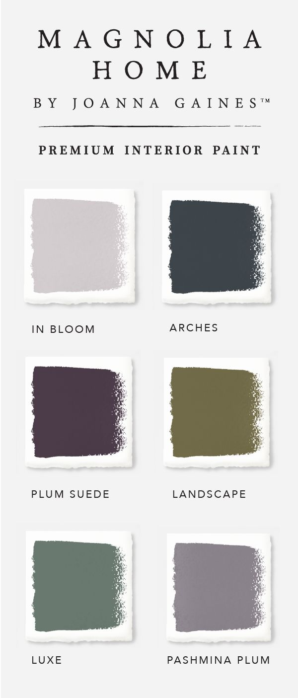 Check out this bold and moody color palette from the Magnolia Home collection by designer Joanna Gaines. Darker colors like Plum Suede and Arches are softened by the addition of lighter hues like In Bloom and Pashmina Plum. Explore the rest of the collection to find inspiration for every room in your home.