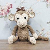 Enfeite para Quarto de Bebê Macaco Médio em Crochê Marrom