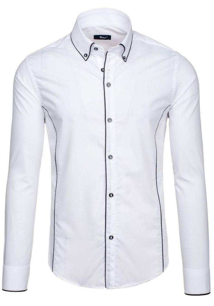 Pánská košile BOLF 6878 bílá BÍLÁ | Pánská móda \ Pánské košile \ Košile dlouhý rukáv Pánská móda \ Pánské košile \ kárované Premium Przecena 15% | Bolf - Internetový Obchod s Oblečením | Oděv | Oblečení | Kabáty | Bundy
