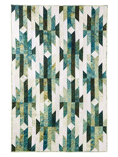 """Use 80 coordinating 2 1/2"""" precut strips to create the 24 blocks that make up this stunning quilt. Pictured quilt was made with Stonehenge Gradations Robin's Egg Jelly Rolls. Finished size is 48"""" x 72""""."""