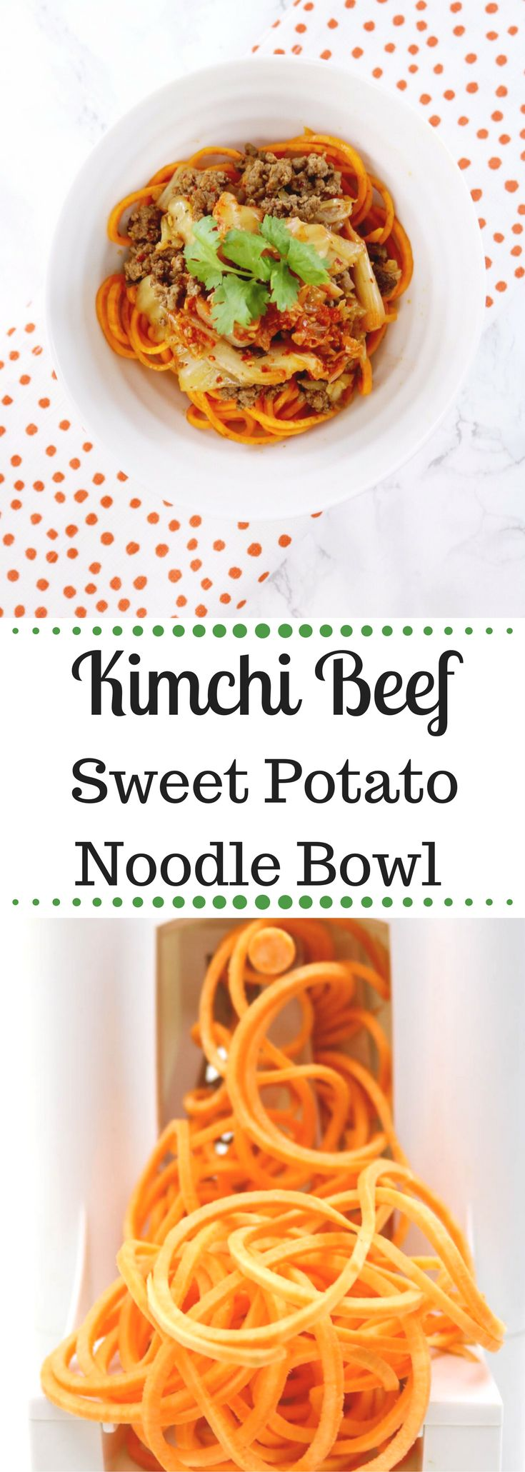 This quick spiralized Kimchi Beef Sweet Potato Noodle Bowl satisfies paleo noodle cravings while boosting gut-health. Paleo + W
