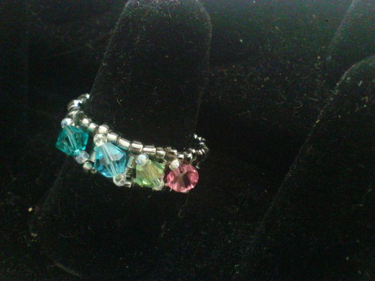 Swarovski ring, family ring, Birthstone ring by joannezjewelry on Etsy