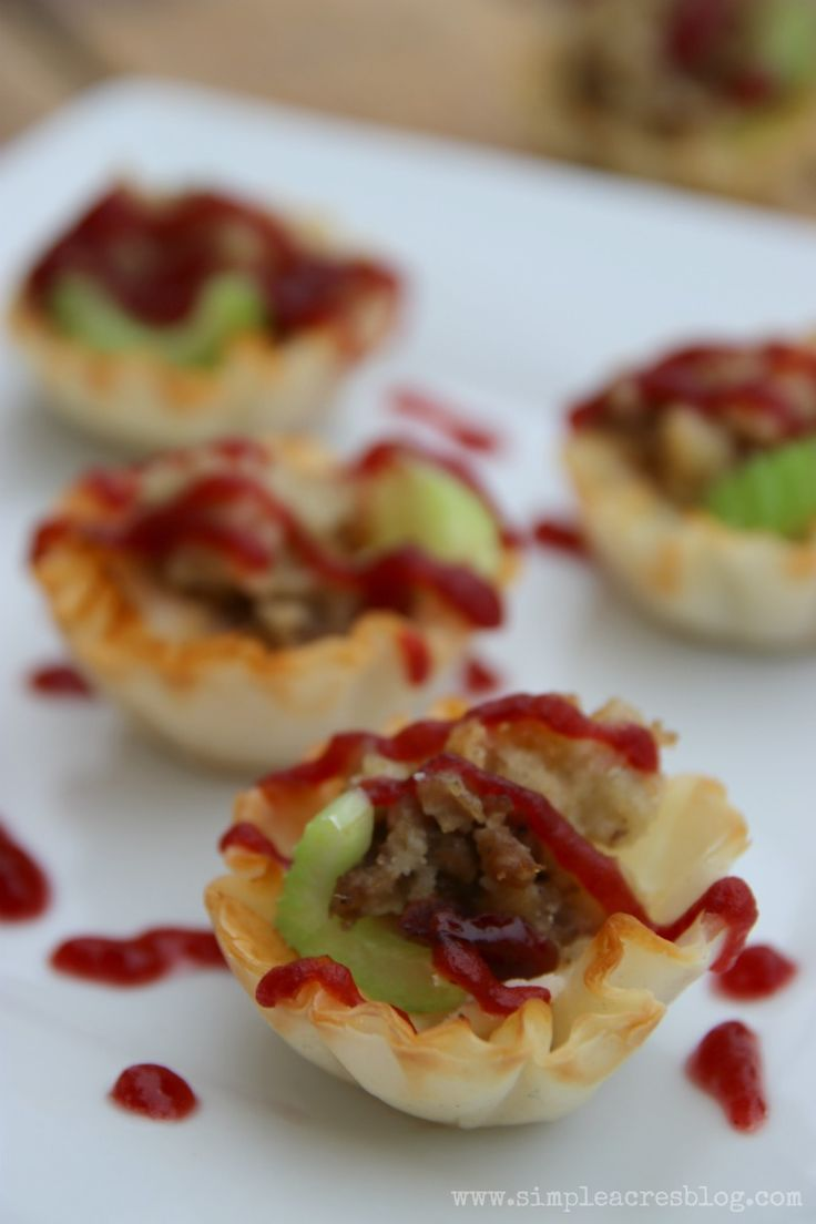 Turkey and Stuffing Bites with Cranberry Drizzle #ad