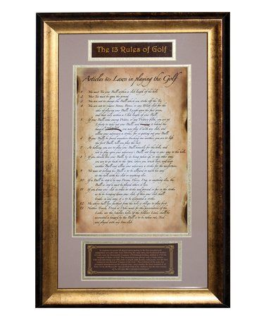 Love this '13 Rules of Golf' Framed Wall Art on #zulily! #zulilyfinds
