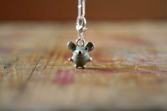 #dorsetteam Mouse necklace Enamel charm necklace Cute by TheDorothyDays