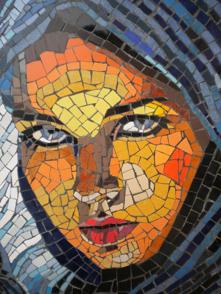 Lady mosaic by fergal mac eoinin good idea pinterest for Drawing mosaic pictures