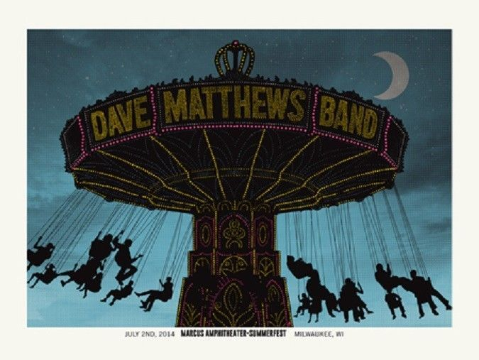 Dave Matthews Band Poster 2014 Summerfest Milwaukee, WI Signed & Numbered #875