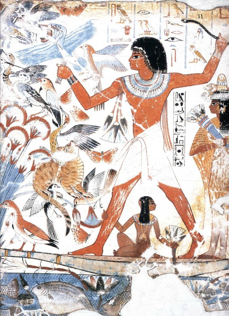 Nebamun Hunting Birds,  c. 1,400-1,350 BC,  Drah Abu el-Neggah, Valley of the Nobles, Thebes-West (New Kingdom)  Note: Restored fragment of a wall painting from the tomb of Nebamun in the British Museum, London, England