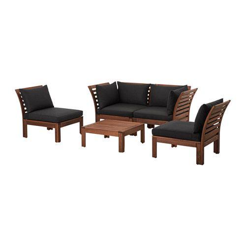 ÄPPLARÖ / HÅLLÖ 4-seat conversation set, outdoor, brown stained, black brown stained/black