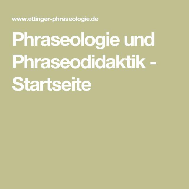 Phraseologie und Phraseodidaktik - Startseite