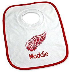 Designs by Chad and Jake Baby Personalized Detroit Red Wings Bib One Size White