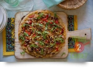 Lamb, Garlic and Hummus Pizza, Rocket and Toasted Pine Nuts | What2Cook
