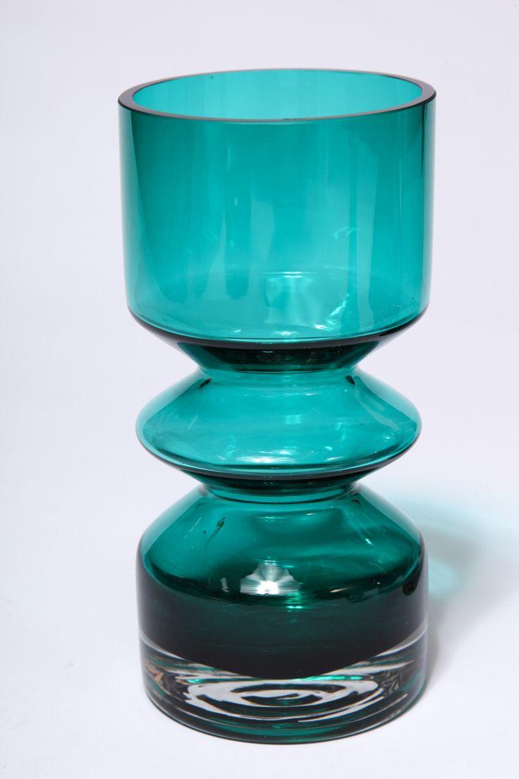 Green teal vase aqua teal turquoise art glass