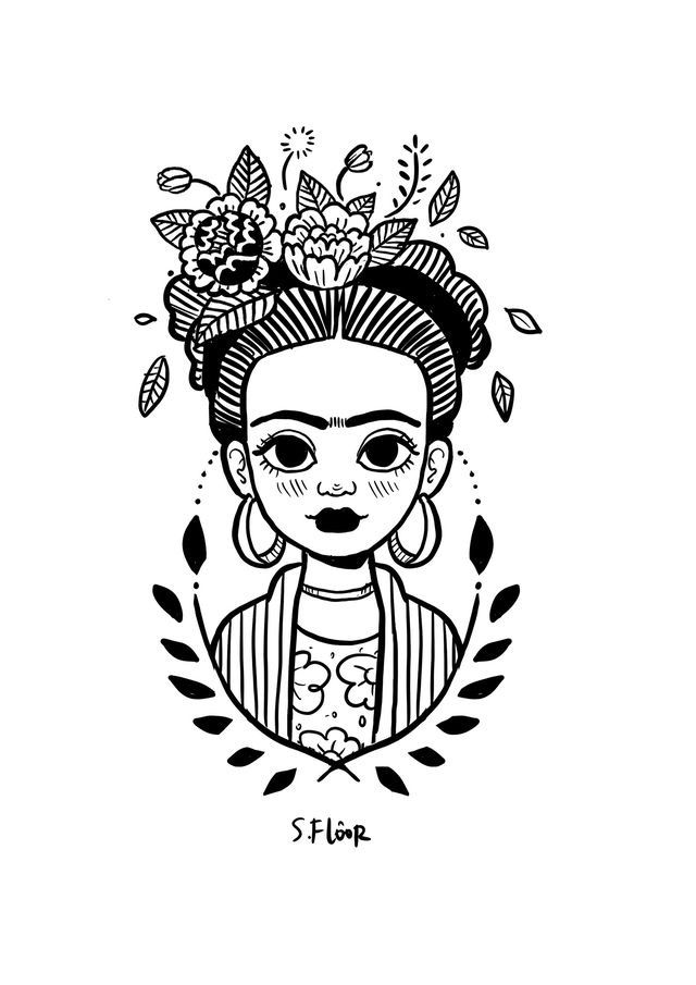 Little Frida on BehanceYou can find Frida kahlo and more on our website.Little Frida on Behance Kahlo Paintings, Frida Art, Doodle Art, Art Sketches, Pencil Art Drawings, Art Inspo, Line Art, Art Projects, Illustration Art