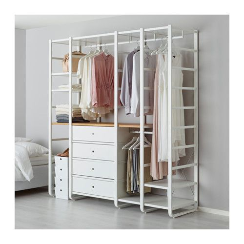 IKEA - ELVARLI, 4 sections, You can always adapt or complete this open storage solution as needed. Maybe the combination we've suggested is perfect for you, or you can easily create your own.Adjustable shelves make it easy to customize the space according to your needs.You can combine open and closed storage - shelves for your favorite things and drawers for the things you want to store away.Drawers with integrated dampers close slowly, silently and softly.If you need more space at the top…