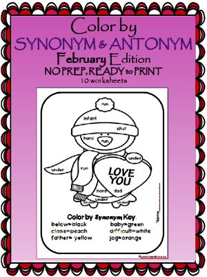 Valentine's Day Giveaway! Enter for your chance to win 1 of 2.  Color by Antonym & Synonym (February Edition) Valentines Day (10 pages) from LearningandGrowing on TeachersNotebook.com (Ends on on 2-8-2015)  Color by Antonym/Synonym worksheets. No prep! Fun! Engaging!