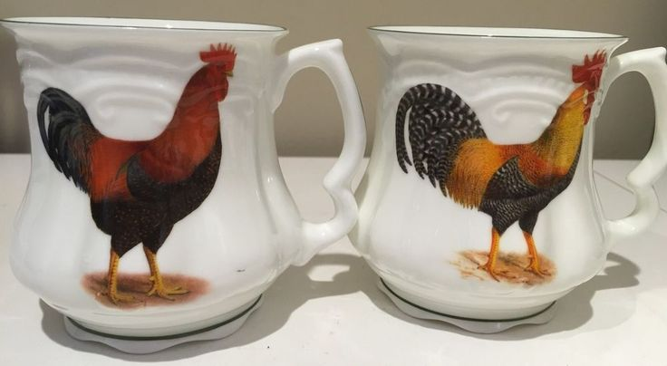 2 Vintage David Michael Staffordshire Urban Farmhouse Mugs Cups Chicken Rooster | eBay