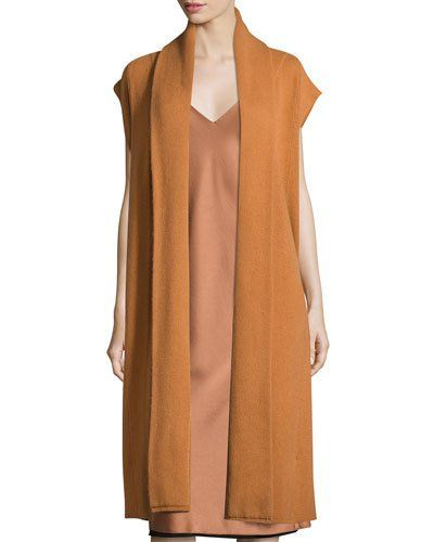 Dkny+Long+Cashmere+Shawl+Collar+Vest+Copper+|+Clothing
