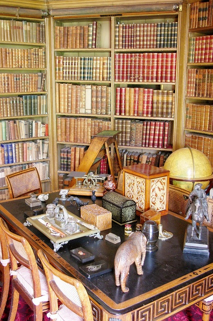 library at Calke Abbey, 18th century (1701-1704) English country house presented by The National Trust as illustration of a country house in a state of decline, as it was passed to the Trust in lieu of death duties in the 1980s, UK