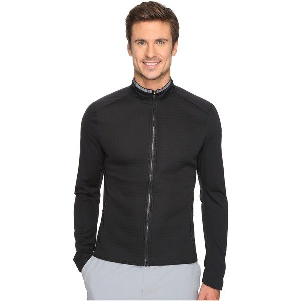 adidas Ultra Energy Jacket (Black/Dark Grey Heather Solid Grey) ($60) ❤ liked on Polyvore featuring men's fashion, men's clothing, men's activewear, men's activewear jackets, black and adidas