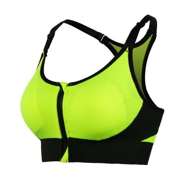 Active Open Back Sport Bra ($7.83) ❤ liked on Polyvore featuring activewear, sports bras, green sports bra and open back sports bra
