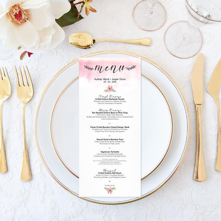 Printable Wedding Menu - Personalized Watercolor Floral Wedding Menu - Elegant Wedding Set Printable Wedding Stationery - Pink Wedding Boho by OnionSisterCreative on Etsy