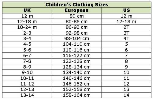 Clothing Size Conversion Charts | Kid, Shopping and ...