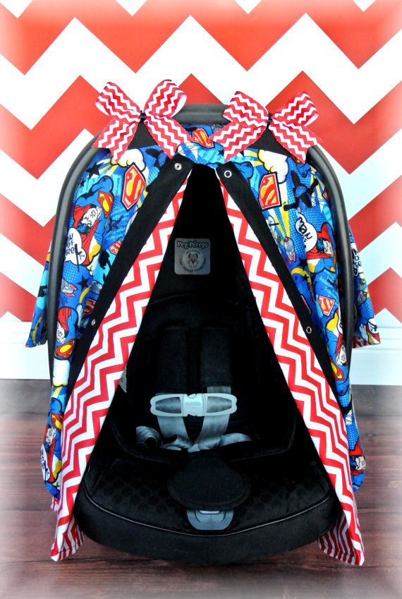 SUPERMAN FLANNEL car seat canopy car seat cover by JaydenandOlivia