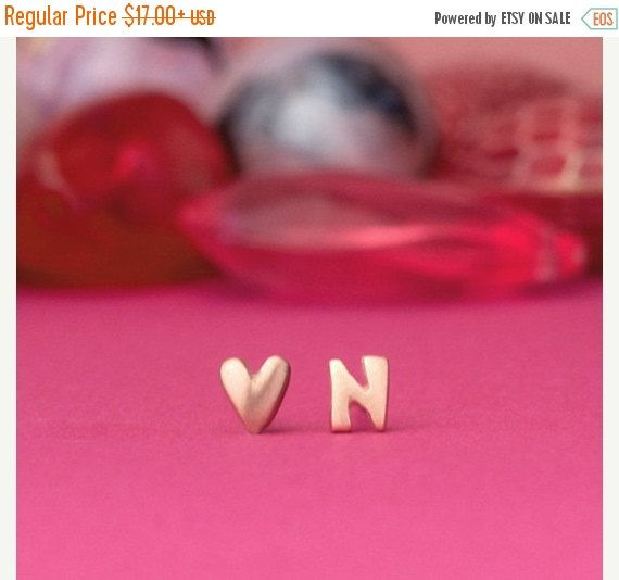SALE 10% Heart Earrings Initial Stud Earring Extra by zoozjewelry