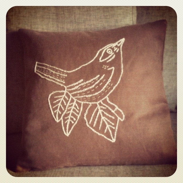 Embroidery bird cushion