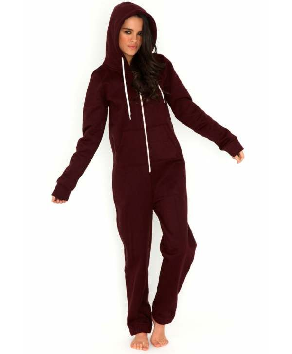 Burgundy Adult Womens Onesie Payton Onesie In Burgundy