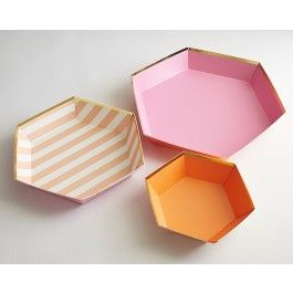 Gold Pink Orange Hexagon Platters - set of 3 |  CAKEGIRLS