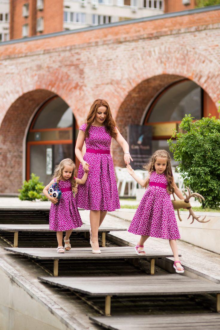 Rochii cu buline simpatice, pentru fetite si mamici