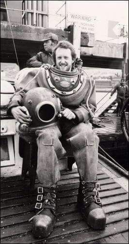 Allan Robinson during diving course at Underwater Training Centre, Fort William 1979.