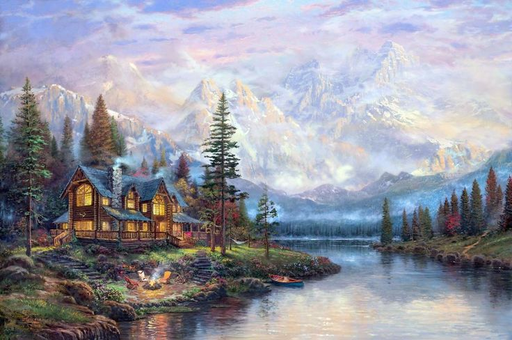 Catherdal Mountain Lodge Digital Cross Stitch Pattern in PDF via E-mail…