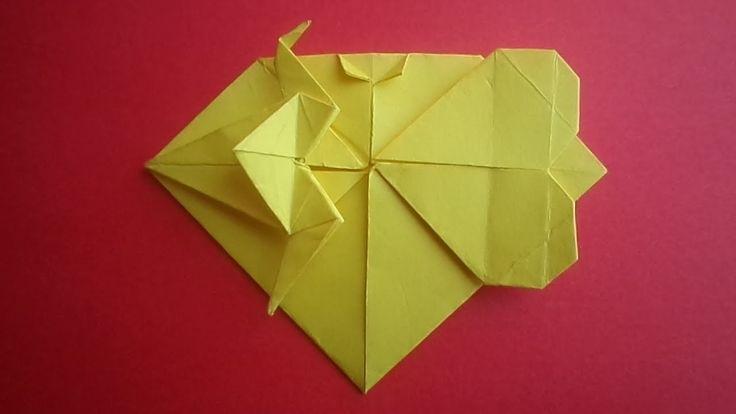Оригами сердце журавль валентинка . origami paper crane valentine heart